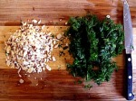 chopped dill and sliced filberts